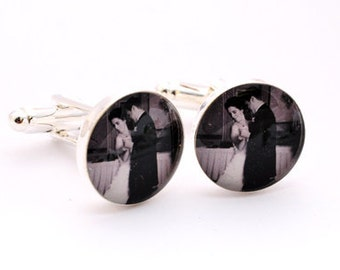 Custom Wedding Picture Cufflinks YOU CHOOSE the PICTURE