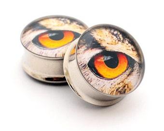 Eyeball Picture Plugs STYLE 6 gauges - 16g, 14g, 12g, 10g, 8g, 6g, 4g, 2g, 0g, 00g, 7/16, 1/2, 9/16, 5/8, 3/4, 7/8, 1 inch