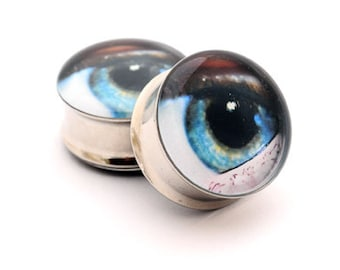 Eyeball Picture Plugs gauges - 16g, 14g, 12g, 10g, 8g, 6g, 4g, 2g, 0g, 00g, 1/2, 9/16, 5/8, 3/4, 7/8, 1 inch STYLE 8