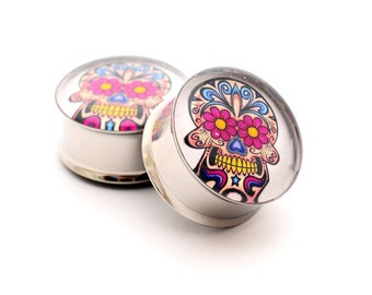 Day of the Dead STYLE 2 Picture Plugs gauges - 16g, 14g, 12g, 10g, 8g, 6g, 4g, 2g, 0g, 00g, 7/16, 1/2, 9/16, 5/8, 3/4, 7/8, 1 inch