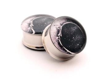 Moon Picture Plugs gauges - 16g, 14g, 12g, 10g, 8g, 6g, 4g, 2g, 0g, 00g, 1/2, 9/16, 5/8, 3/4, 7/8, 1 inch STYLE 2
