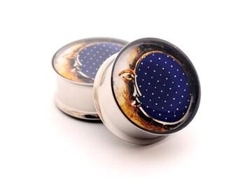 Moon Picture Plugs gauges - 16g, 14g, 12g, 10g, 8g, 6g, 4g, 2g, 0g, 00g, 7/16, 1/2, 9/16, 5/8, 3/4, 7/8, 1 inch STYLE 3