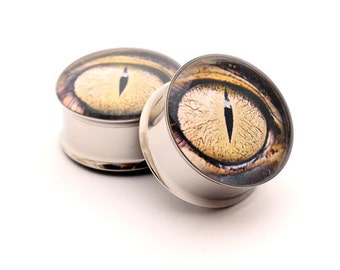 Eyeball Picture Plugs gauges - 16g, 14g, 12g, 10g, 8g, 6g, 4g, 2g, 0g, 00g, 1/2, 9/16, 5/8, 3/4, 7/8, 1 inch STYLE 9
