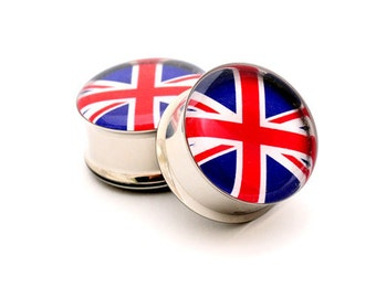 Union Jack Picture Plugs gauges - 00g, 1/2, 9/16, 5/8, 3/4, 7/8, 1 inch