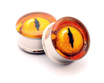 Eyeball Picture Plugs gauges - 16g, 14g, 12g, 10g, 8g, 6g, 4g, 2g, 0g, 00g, 7/16, 1/2, 9/16, 5/8, 3/4, 7/8, 1 inch STYLE 12
