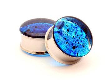 Blue Spatter Resin Plugs gauges - 00g, 7/16,1/2, 9/16, 5/8, 3/4, 7/8, 1 inch