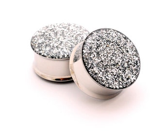 Embedded Silver Glitter Plugs gauges - 00g, 1/2, 9/16, 5/8, 3/4, 7/8, 1 inch