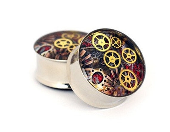 Steampunk Watch Parts Picture Plugs gauges - 5/8, 3/4, 7/8, 1 inch STYLE 6