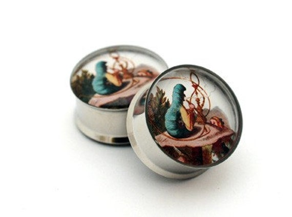 Alice in Wonderland Picture Plugs gauges - 16g, 14g, 12g, 10g, 8g, 6g, 4g, 2g, 0g, 00g, 7/16, 1/2, 9/16, 5/8, 3/4, 7/8, 1 inch STYLE 4