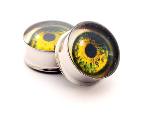 Eyeball Picture Plugs gauges - 00g, 1/2, 9/16, 5/8, 3/4, 7/8, 1 inch STYLE 11