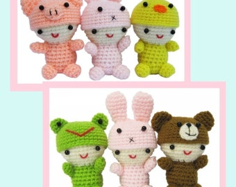 ENGLISH Instructions - Instant Download PDF Crochet Pattern Little Babies with cute Animal caps