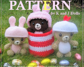 ENGLISH Instructions - Instant Download PDF Crochet Pattern Easter Bears