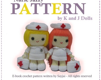 ENGLISH Instructions - Instant Download PDF Crochet Pattern Nurse Jazzy