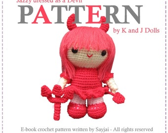 ENGLISH Instructions - Instant Download PDF Crochet Pattern Jazzy dressed as a Devil