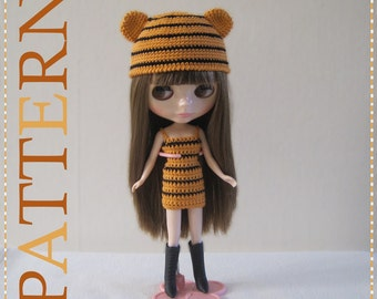 ENGLISH Instructions ONLY - Instant Download PDF Crochet Pattern Tiger Hat and Dress