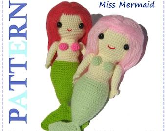 ENGLISH Instructions - Instant Download PDF Crochet Pattern Miss Mermaid