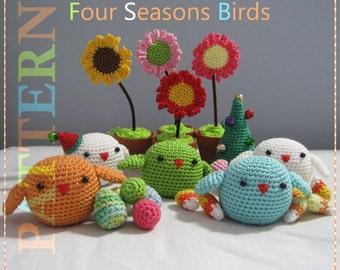 ENGLISH Instructions - Instant Download PDF Crochet Pattern Four Seasons Birds