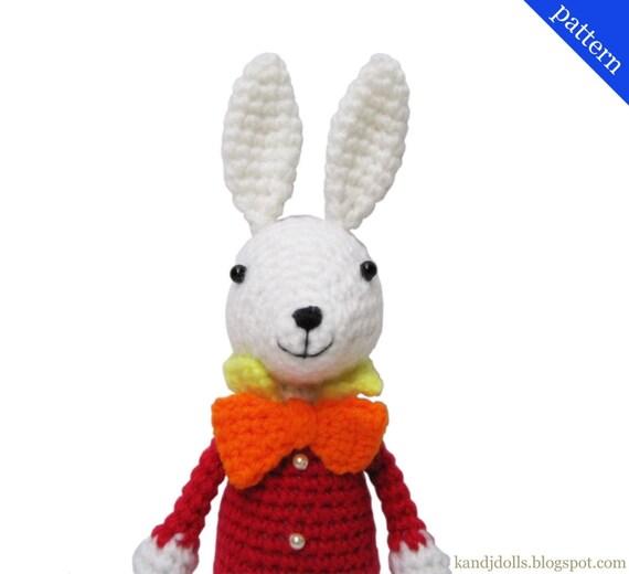 Crochet Doll Scarf Pattern Free : White Rabbit from Alice in Wonderland PDF Amigurumi by ...
