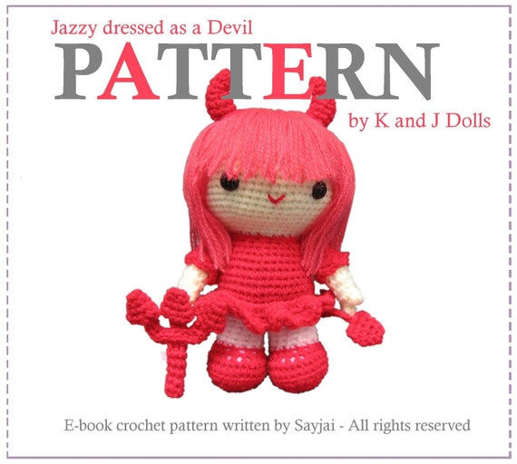 Instant Download PDF Crochet Pattern Jazzy dressed as a Devil - ENGLISH Instructions