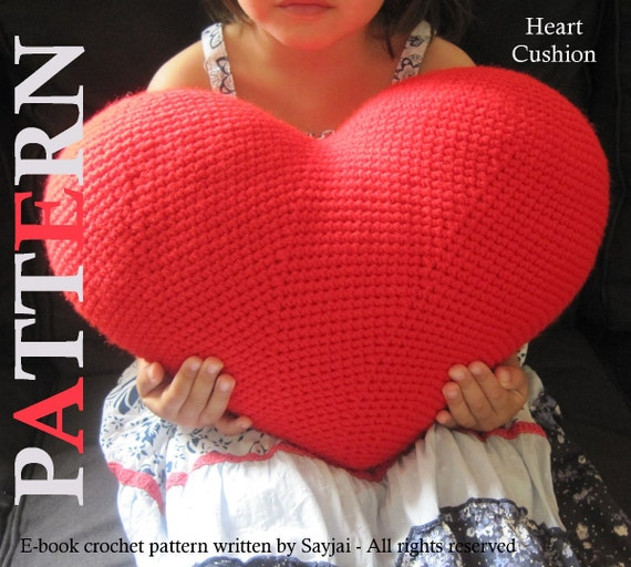 ENGLISH Instructions - Instant Download PDF Crochet Pattern Heart Cushion