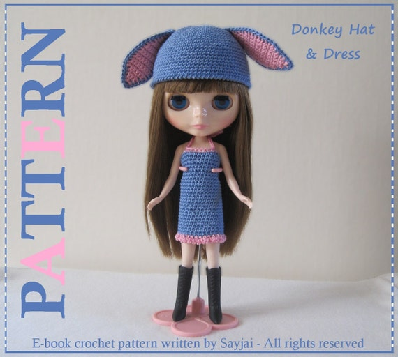 ENGLISH Instructions - Instant Download PDF Crochet Pattern Donkey Hat and Dress