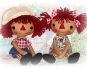 Primitive Doll Pattern, Raggedy Ann Andy Pattern, Boy and Girl Rag Doll Pattern, Soft Toy Dolls Pattern, PDF sewing pattern