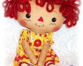 Small Doll Pattern, Cloth Doll Pattern, Rag Doll Pattern,  PDF Pattern, Sewing Pattern, Raggedy Ann Annie, Primitive doll pattern