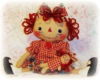 Cloth doll sewing Pattern, PDF pattern, Rag Doll Pattern, raggedy Ann pattern, Annie pattern, primitive doll pattern