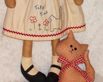 Rag Doll Pattern, Cloth Doll Pattern, PDF sewing pattern, Raggedy Annie Doll Pattern, Primitive Doll Pattern, Kitty Cat, Kitten pattern