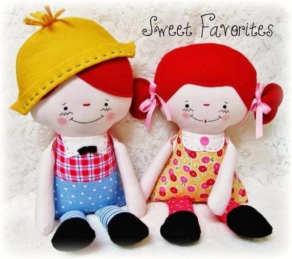 Doll sewing PATTERN, PDF pattern, raggedy Ann Andy, Boy or Girl, Softie, Plush doll pattern, instant download, digital download