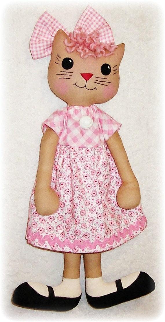 Kitty Cat Softie Pattern, Soft Doll Stuffed Animal Pattern, Soft Toy Pattern, Rag Doll Pattern, Cloth Doll Pattern, Kitten, PDF Pattern