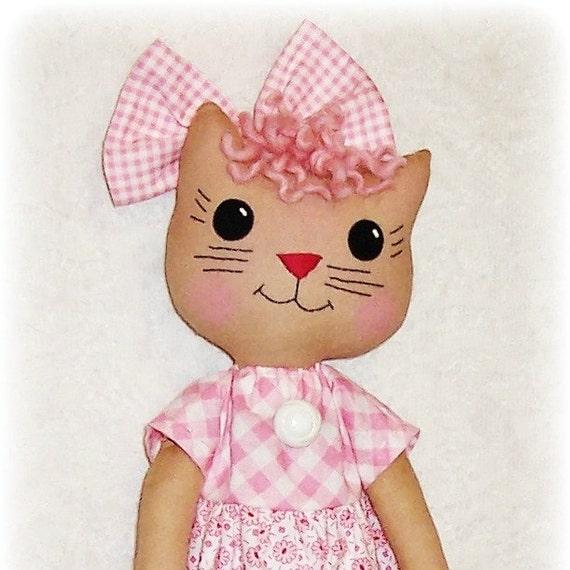 Kitty Cat Softie Pattern, PDF sewing pattern, Soft Doll, Stuffed Animal Pattern, Soft Toy, Rag Doll Pattern, Primitive Cloth Doll Kitten
