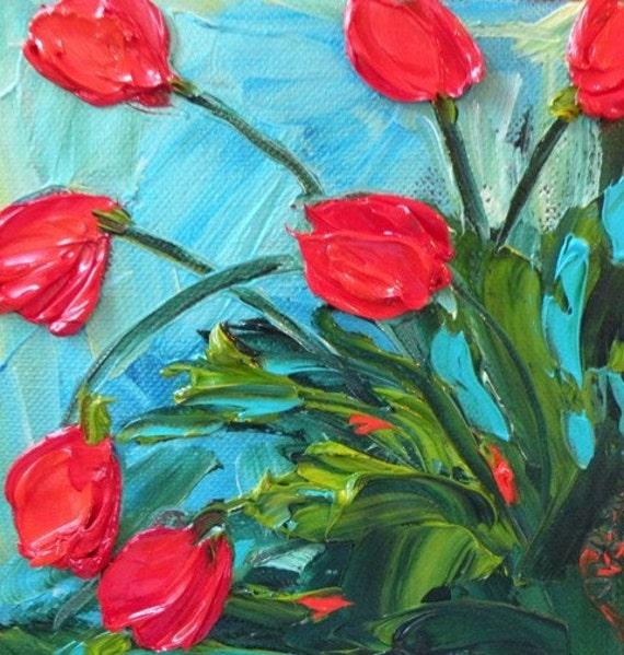Oringinal Impasto Oil 6x6 Tulips
