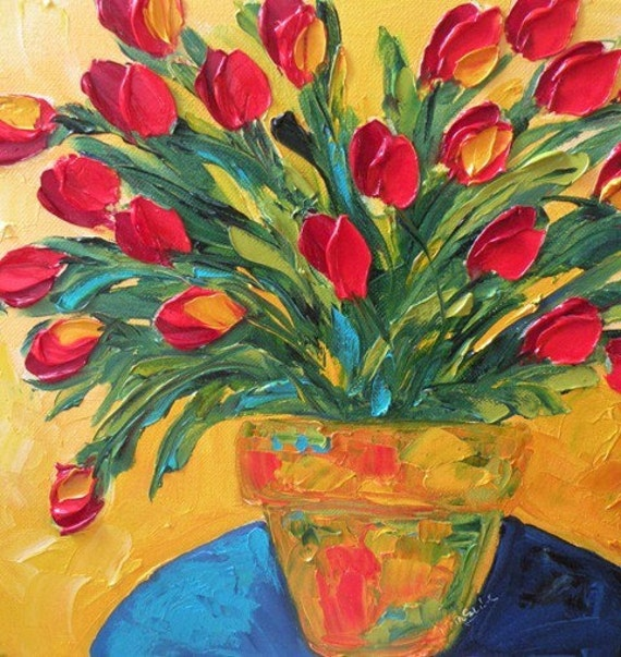 Original Impasto Oil Red Tulips