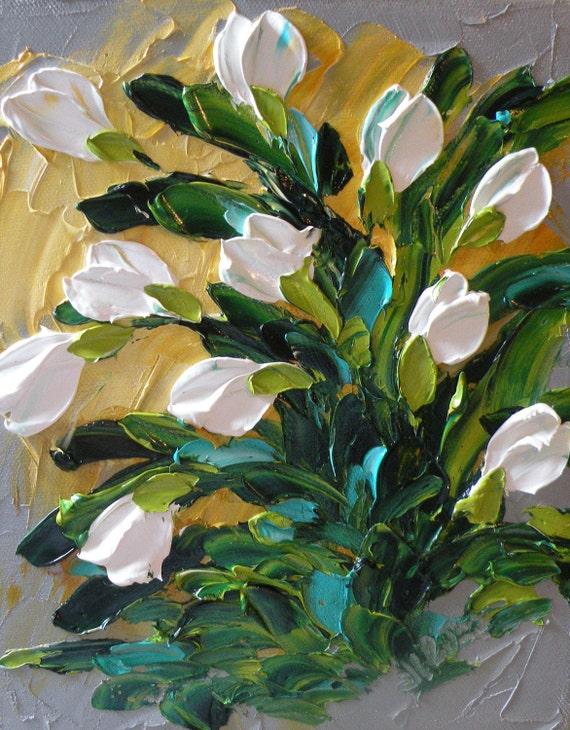 Original Oil Painting White Tulip Wall Decor Impasto Palette Knife Wall Decor Art