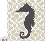 Seahorse 8x10 PRINT (French Grey and Charcoal) (Modern French Style) Nautical/Beach Theme