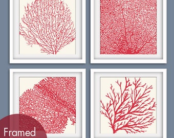 Underwater Sea Coral Collection (Series C) Set of 4 - Square Art Poster Prints (Featured in Soft Cream and Ruby Red)
