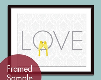 LOVE Birds (Series A) - 8x10 Print (Featured Dolphin and Canary (Customizable Colors) Buy 3 get one Free