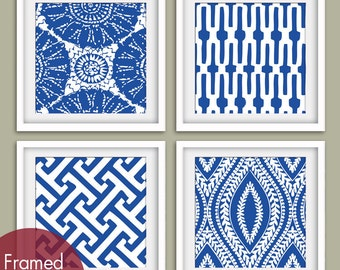 Marine Pattern Prints Collection (Series A) Set of 4 - Art Poster Prints (Featured in Marine Blue and White)