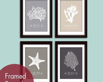 Underwater Sea Coral Collection  (Series A) - Set of 4 - Art Prints - (Nautical Beach Inspired Theme) Customizable colors