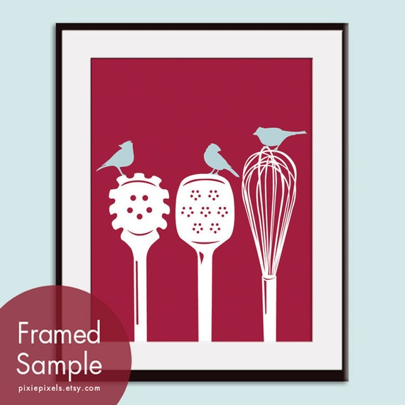 Birds on a Pasta Ladle, Spatula & Whisk - Art Print (Featured in Rich Red and Glacier Blue) Modern Vintage Prints (Customizable Colors)