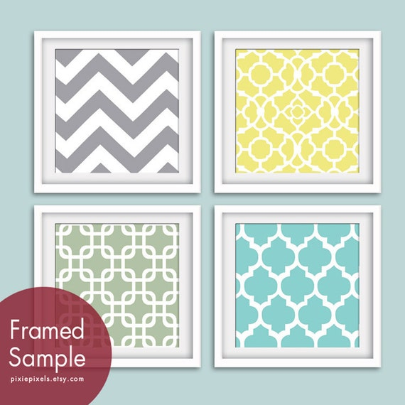 Modern Pattern Prints (Series A) Set of 4 - Square Art Poster Prints (Featured in Dolphin, Canary, Veranda and Paris Blue)