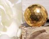 Golden Honeycomb Vintage Button Ring