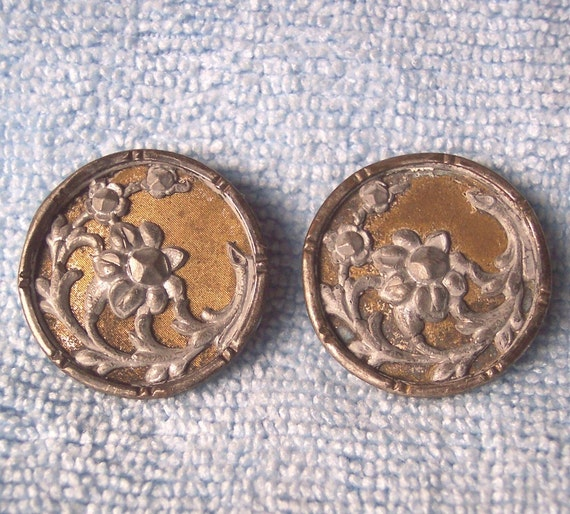 2 Early 1800s Tin over Brass Buttons, Floral Design, Shank, 18mm
