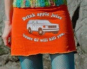 CHOPSTIX fundraiser with chopstix yarn don't drink OJ mini skirt with awesome hand crocheted waistband size small