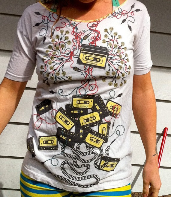 cassette tapes are my heart and cords and plugs my lungs beach after yoga t shirt tee will fit  S, M, maybe L