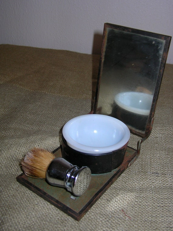 Vintage Traveling Shaving Kit Mirror Brush And By
