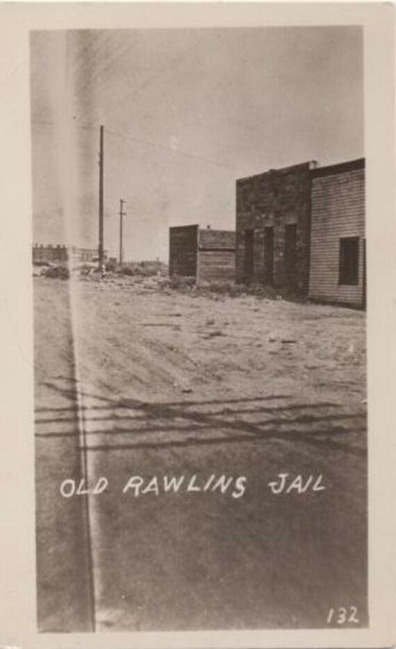 Real Photo Postcard Rawlins Jail Wyoming