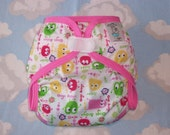Pink And Lime Ooga Polyester PUL Cloth Diaper Cover With Aplix Hook & Loop Or Snaps Pick Size XS/Newborn, Small, Medium, Large, or One Size