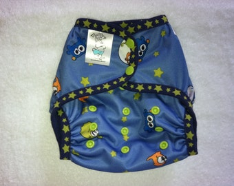 Alien Polyester PUL Cloth Diaper Cover With Aplix Hook & Loop Or Snaps You Pick Size XS/Newborn, Small, Medium, Large, or One Size